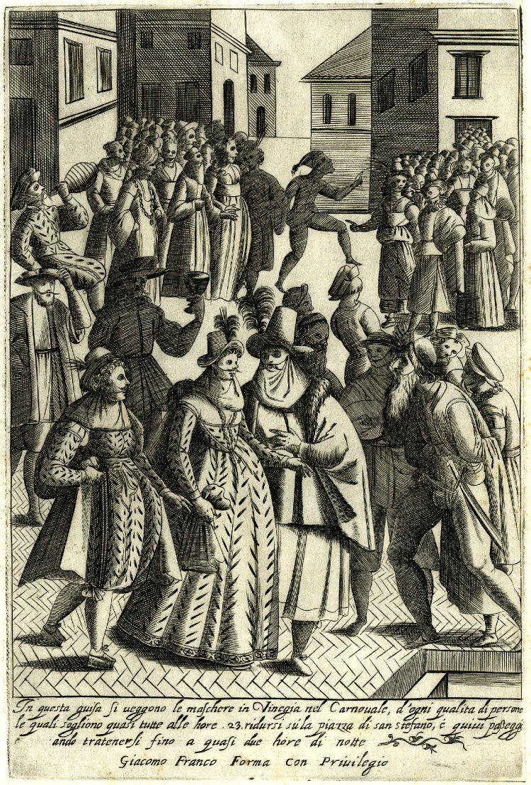 Venetian Masque in Piazza Santo Stefano during Carnival, from Giacomo Franco, Abiti d'uomini e donne veneziani (Venice, 1610)