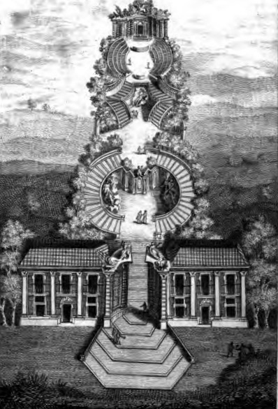 Plan of Bosco Parrasio, headquarters of the Accademia degli Arcadi in Rome, from Giovanni Maria Crescimbeni, Storia dell'Accademia degli Arcadi istituita in Roma (1690, reprinted London, 1804)
