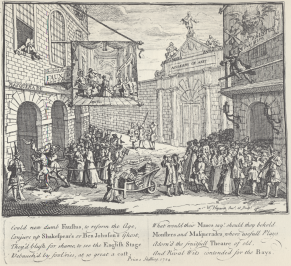 William Hogarth, Masquerades and Operas, Burlington Gate, also known as Bad Taste of the Town (1724)